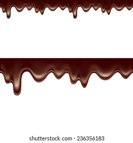 Melted chocolate dripping  seamless on white background