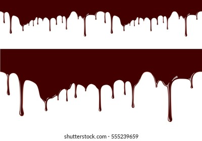 Melted chocolate syrup leaking on white background vector seamless border illustration
