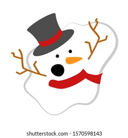 A melted Christmas snowman. Hat, scarf, orange carrot, branches