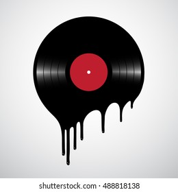 Melted or hot vinyl record disc. Illustration for club parties, concerts, albums, prints.