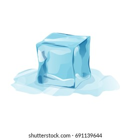 Melted ice cube with transparency, 3d vector element. Ice piece on white background. Isolated ice cube in cartoon style for your design. Template for leaflet or banner design. Vector illustration art.