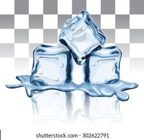 Melted Ice Cube Wet Solid Liquid Freeze Transparent Water