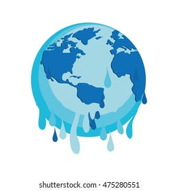 melted save planet earth ecology icon. Isolated and flat illustration. Vector graphic