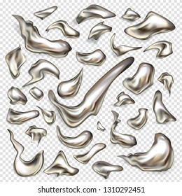 Melted silver drops, spilled mercury, precious platinum 3d realistic vector set isolated on transparent background. Metallic paint, steel alloy, liquid metal abstract form and size drips collection