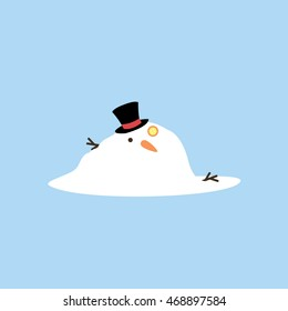 a melted snowman illustration isolated in a light blue background