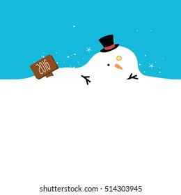 a melted snowman with a sign illustration isolated in a light blue and white background