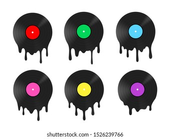 Melted vinyl record with dripping drops. Vector illustration