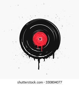 Melted vinyl record with drops. Template for cafe, cover, poster or your art works.