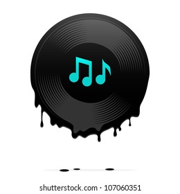 Melted vinyl record with musical notes. Vector illustration.
