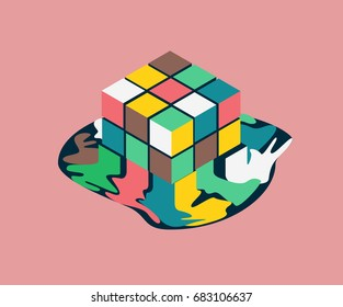 Melting 3d cubes form, failed team building concept, isometric vector illustration