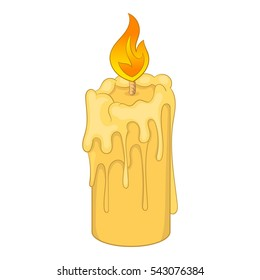 Melting candle icon. Cartoon illustration of candle vector icon for web design