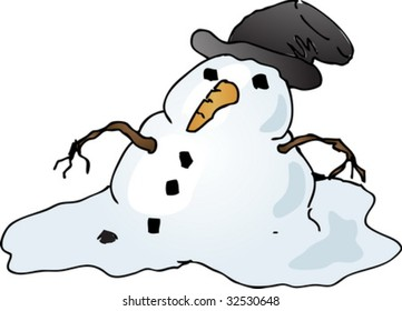 Melting depressed snowman with tophat, cartoon comic illustration vector