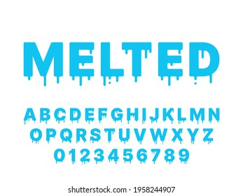 Melting font. Blue liquid, flowing english alphabet with drops and drips, thawing latin letters and numbers, fluid typography, fused deformation, topping lettering vector flat isolated set