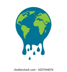 melting globe planet earth warming environment concept vector illustration
