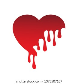 Melting Heart Drop Icon - Isolated On White Background. Vector Illustration, Graphic Design. Red Heart Melt With Drops For Web, Logo, Sign, Symbol And Elements Design
