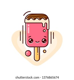 Melting ice cream on a stick isolated on white background. Eskimo pie. Vector flat outline icon. Comic character in kawaii cartoon style illustration for tshirt design