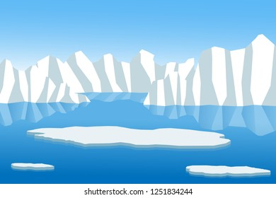 Melting ice floe with ice berg in the background, caused by the global warming effect.