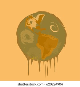 Melting planet Earth.Global warming concept.