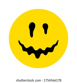 Melting smile. Dripping smile. Smile icon. Smiley on yellow background. Vector emoji. Happy smile. Emoticon face. Happy symbol. Face pictogram. Good mood. Positive emoji.