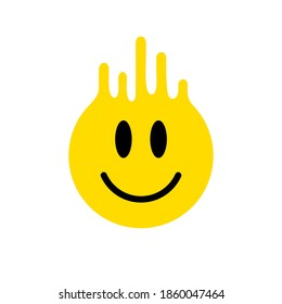 Melting smile. Dripping smile. Smile icon. Yellow smile. Smiley on yellow background. Good mood. Positive emoji. Flowing liquid. Paint splatter. Molten. Happy face. Vector emoji. Current drop. Paint