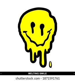 Melting Smile Streetwear Design Black and Yellow Color Commercial Use