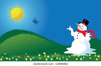 Melting Snowman in Springtime Background