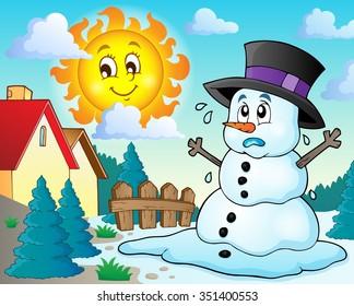 Melting snowman theme image 2 - eps10 vector illustration.
