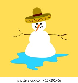melting snowman wearing sombrero