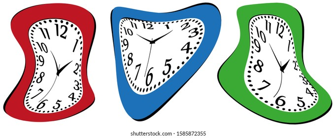 melting watches. Set of deformed colorful wall clock.
