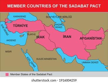 member countries of the sadabat pact turkish history map
