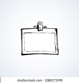 Member entry identify info message note neck nametag account backstage latch isolated on white background. Line black ink handdrawn convent picture logo sketch in art doodle graphic style pen on paper
