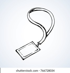 Member entry identify info message note neck nametag backstage latch hang isolated on white background. Line black ink hand drawn convent picture logo sketch in art doodle graphic style pen on paper