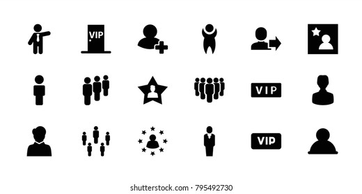 Member icons. set of 18 editable filled member icons: vip, businessman, user, group, add friend, favorite user, favorite photo, vip door, man