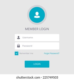 Member Login Flat Design White