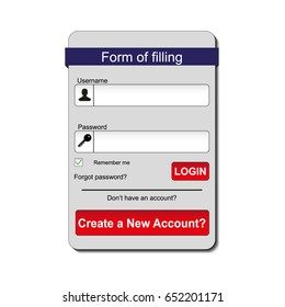 Member login form interface. For web page, site, mobile applications, art illustration, design theme, modern menu, contact empty box, banner. Log in ui.