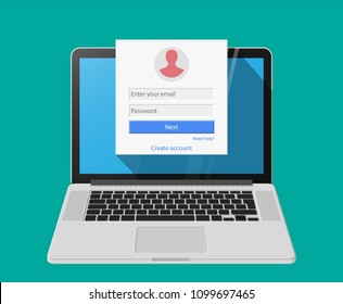 Member login form into account managment page on laptop screen, ui element, web site, mobile app, secure login. Vector illustratiom in flat style