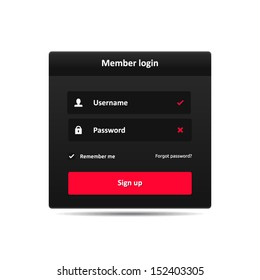 Member login template - username password and sign up | vector symbols dark theme