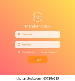Member Login Template. For Website, Mobile, Computer, Application etc. Modern Design. Vector Illustration