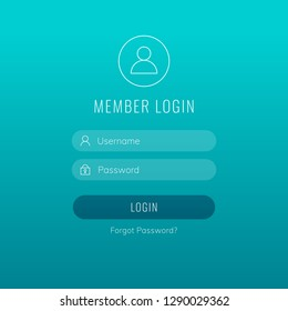 Member login vector form with linear icons and trasparent web elements. Modern stylish design