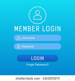 Member login vector form with linear icons and trasparent web elements. Login form page on modern background gradient style for website ui elements, online registration, access to account concept.