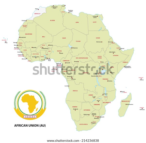 African Union Map.Member States African Union Au Map Stock Vector Royalty