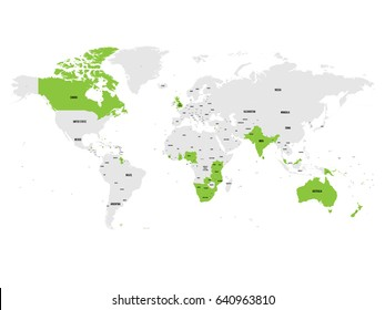 Member states of the British Commonwealth green highlighted in the world map. Vector illustration.
