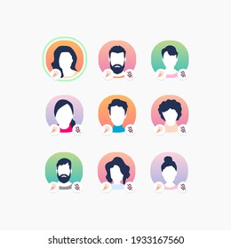 Member's avatars on Clubhouse app. Online communication. Audio chat with voice messages.