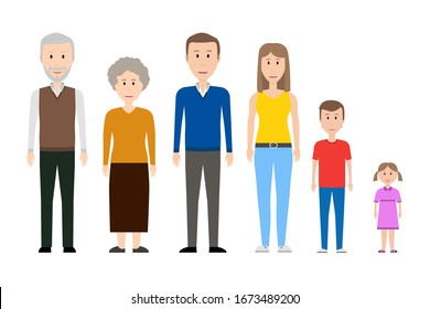 Members of big family. Father, mother, sister, brother, grandfather, grandmother. Vector illustration