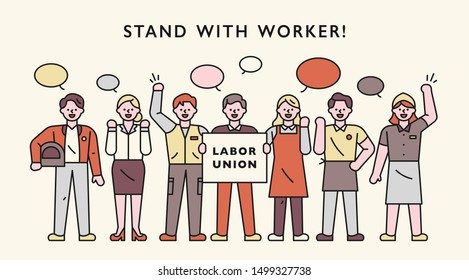 The members of the labor movement stand in line and speak their own voices. flat design style minimal vector illustration.