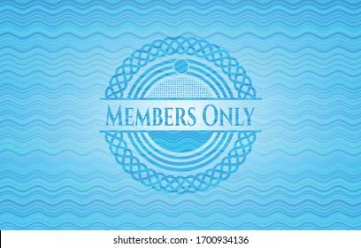 Members Only sky blue water wave emblem. Vector Illustration. Detailed.