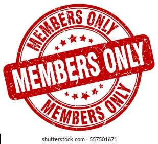 members only. stamp. red round grunge vintage members only sign