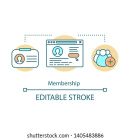 Membership concept icon. Partnership agreement idea thin line illustration. Customer data. Online marketing. Web registration. Subscription. Personal account. Vector isolated drawing. Editable stroke