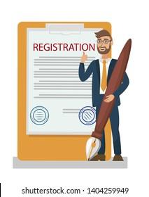 Membership Contract, Certificate Flat Illustration. Office Paperwork Metaphor. Property, Product, Vehicle Registration. Cartoon Vector Legal Advisor, Businessman Signing Document, Paper