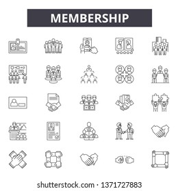 Membership line icons, signs set, vector. Membership outline concept, illustration: membership,card,id,person,identity,flat